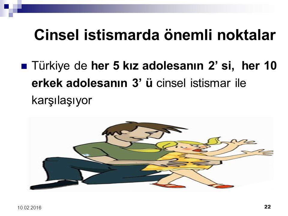 22 10.02.2016 Cinsel istismarda önemli noktalar Türkiye de her 5 kız adolesanın 2' si, her 10 erkek adolesanın 3' ü cinsel istismar ile karşılaşıyor