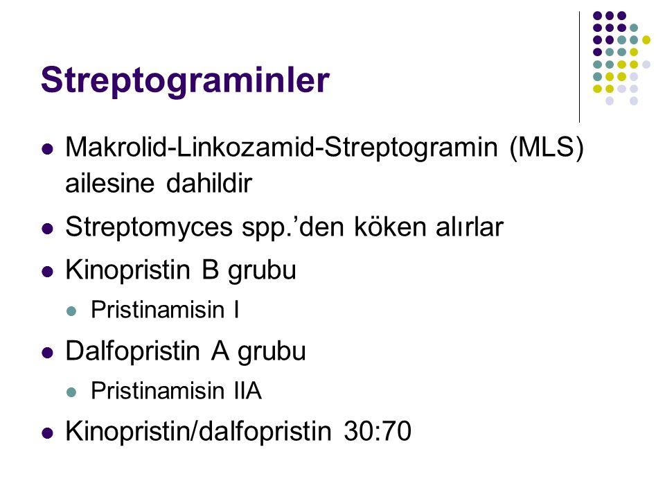 Streptograminler Makrolid-Linkozamid-Streptogramin (MLS) ailesine dahildir Streptomyces spp.'den köken alırlar Kinopristin B grubu Pristinamisin I Dal