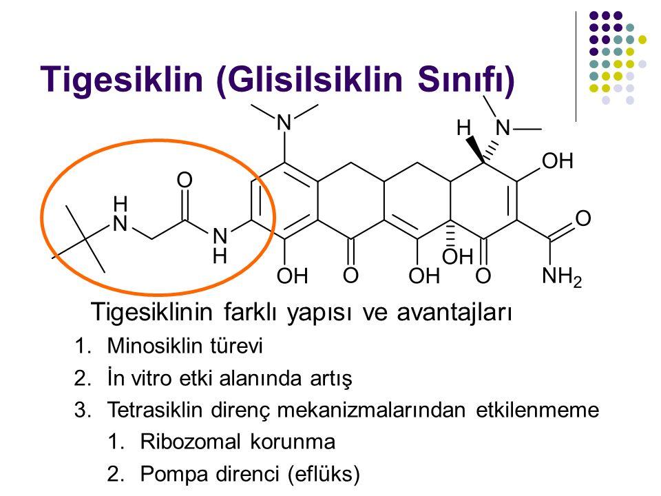 Tigesiklin (Glisilsiklin Sınıfı) 1.Minosiklin türevi 2.İn vitro etki alanında artış 3.Tetrasiklin direnç mekanizmalarından etkilenmeme 1.Ribozomal kor