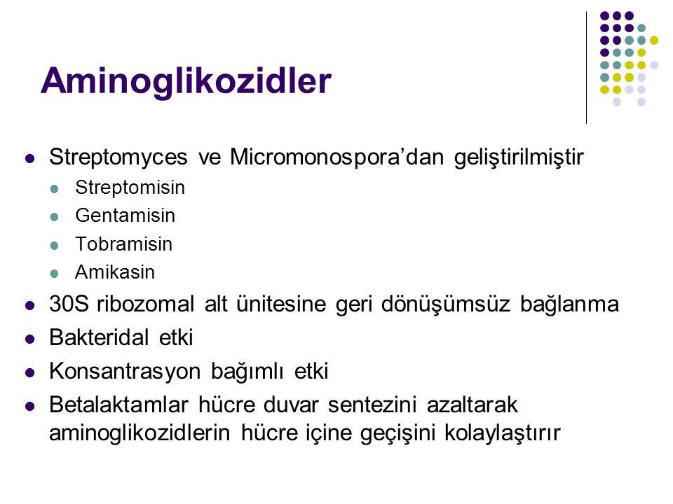 Aminoglikozidler Streptomyces ve Micromonospora'dan geliştirilmiştir Streptomisin Gentamisin Tobramisin Amikasin 30S ribozomal alt ünitesine geri dönü