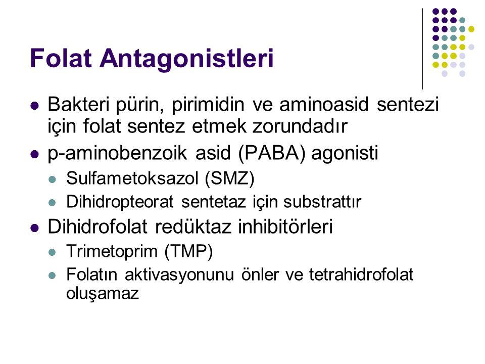 Folat Antagonistleri Bakteri pürin, pirimidin ve aminoasid sentezi için folat sentez etmek zorundadır p-aminobenzoik asid (PABA) agonisti Sulfametoksa