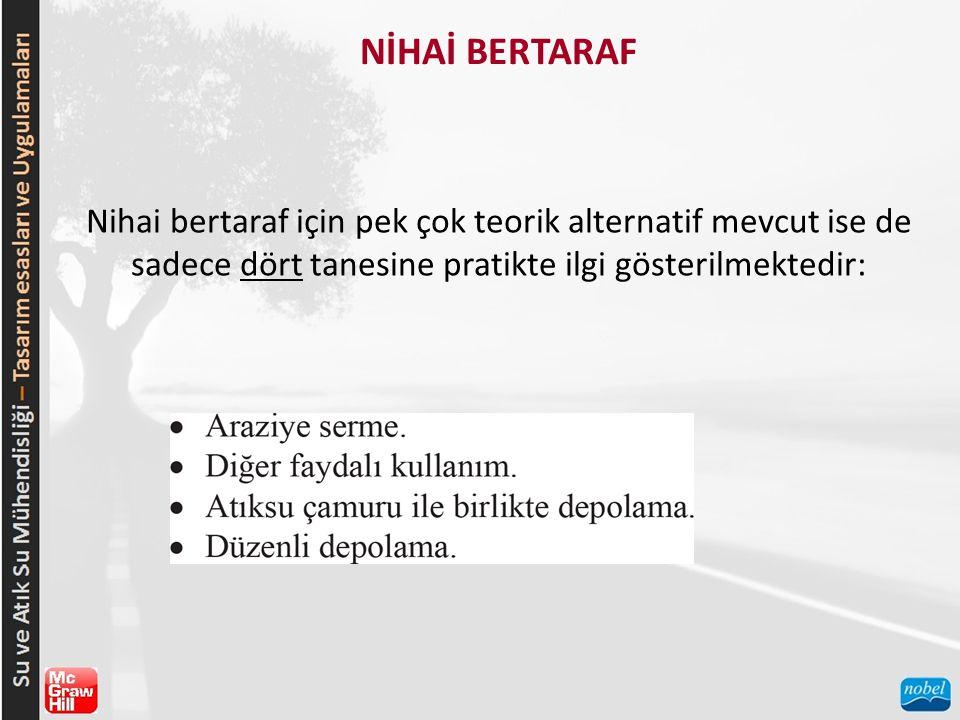 NİHAİ BERTARAF Nihai bertaraf için pek çok teorik alternatif mevcut ise de sadece dört tanesine pratikte ilgi gösterilmektedir: