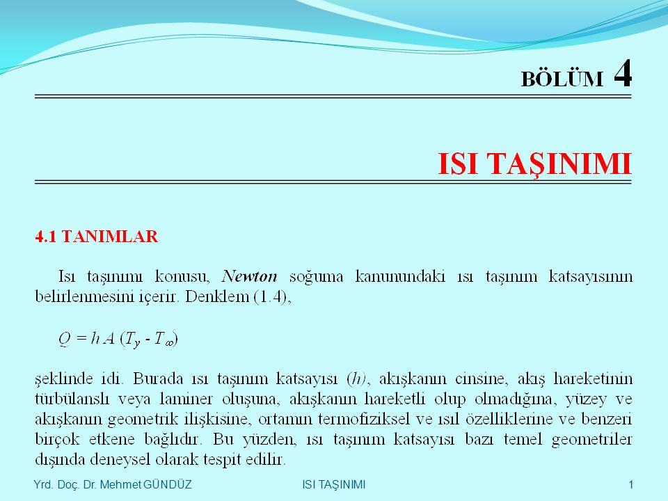 Yrd. Doç. Dr. Mehmet GÜNDÜZ 42 LEVHA ÜZERİNDEKİ AKIŞTA - ISI TAŞINIMI