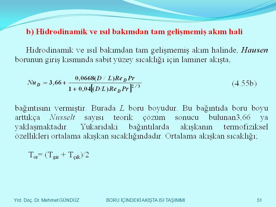 Yrd. Doç. Dr. Mehmet GÜNDÜZ 51 BORU İÇİNDEKİ AKIŞTA ISI TAŞINIMI