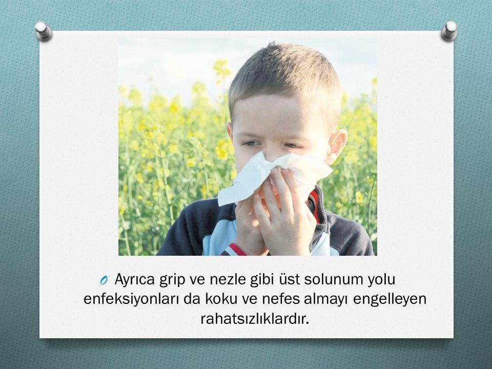 OAOAyrıca grip ve nezle gibi üst solunum yolu enfeksiyonları da koku ve nefes almayı engelleyen rahatsızlıklardır.