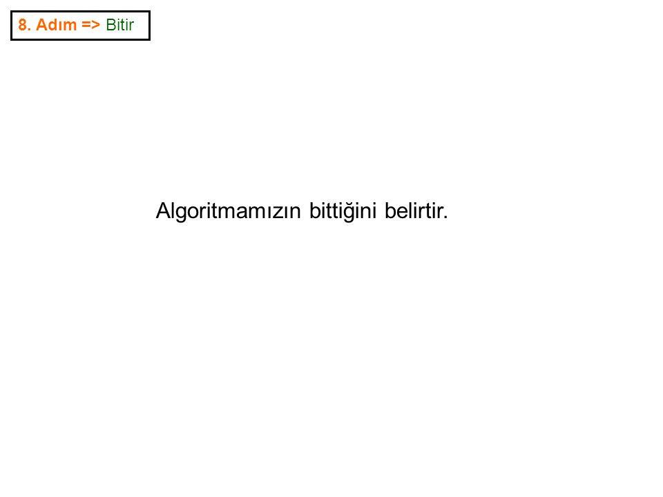8. Adım => Bitir Algoritmamızın bittiğini belirtir.