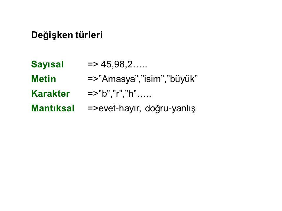"""Değişken türleri Sayısal=> 45,98,2….. Metin=>""""Amasya"""",""""isim"""",""""büyük"""" Karakter=>""""b"""",""""r"""",""""h""""….. Mantıksal=>evet-hayır, doğru-yanlış"""