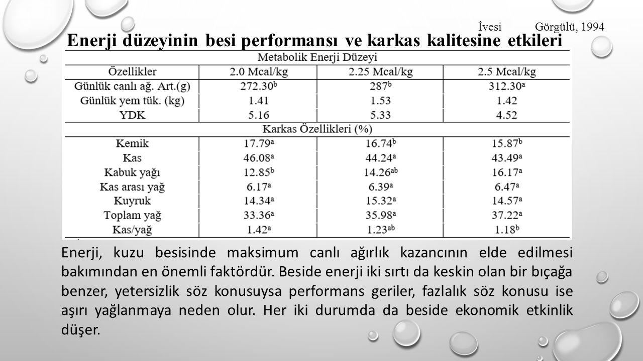 Enerji düzeyinin besi performansı ve karkas kalitesine etkileri İvesi Görgülü, 1994 Enerji, kuzu besisinde maksimum canlı ağırlık kazancının elde edil