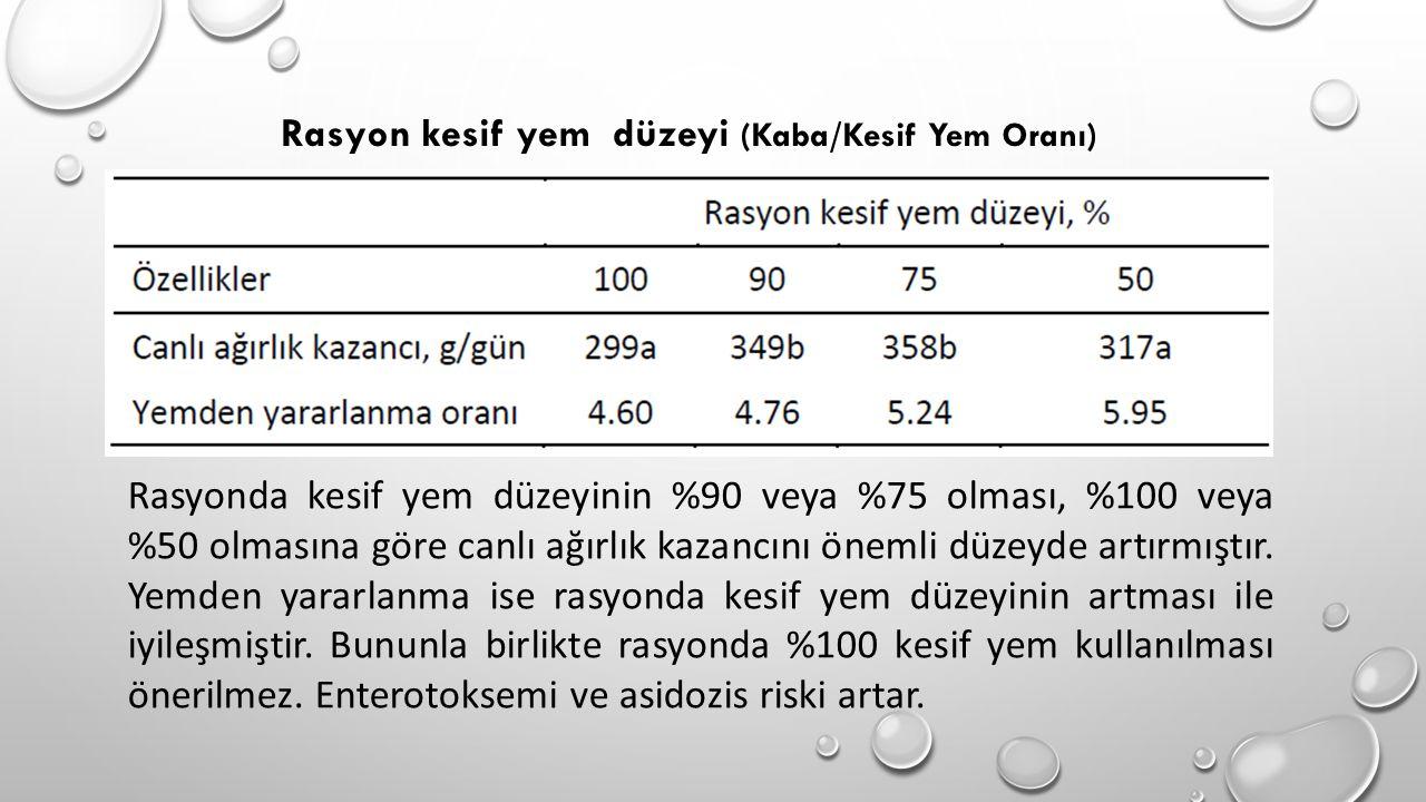 Rasyonda kesif yem düzeyinin %90 veya %75 olması, %100 veya %50 olmasına göre canlı ağırlık kazancını önemli düzeyde artırmıştır. Yemden yararlanma is