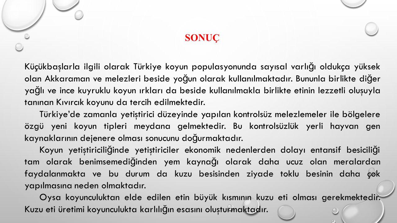 SONUÇ Küçükbaşlarla ilgili olarak Türkiye koyun populasyonunda sayısal varlı ğ ı oldukça yüksek olan Akkaraman ve melezleri beside yo ğ un olarak kull