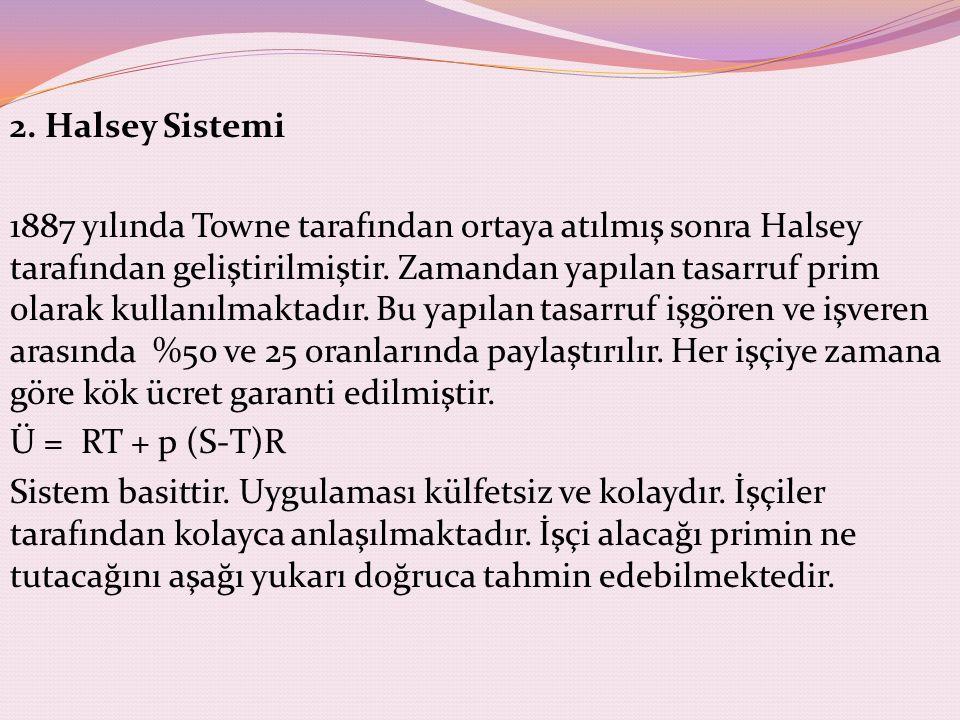 2. Halsey Sistemi 1887 yılında Towne tarafından ortaya atılmış sonra Halsey tarafından geliştirilmiştir. Zamandan yapılan tasarruf prim olarak kullanı