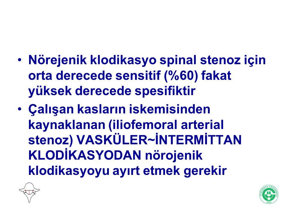 Nörejenik klodikasyo spinal stenoz için orta derecede sensitif (%60) fakat yüksek derecede spesifiktir Çalışan kasların iskemisinden kaynaklanan (ilio