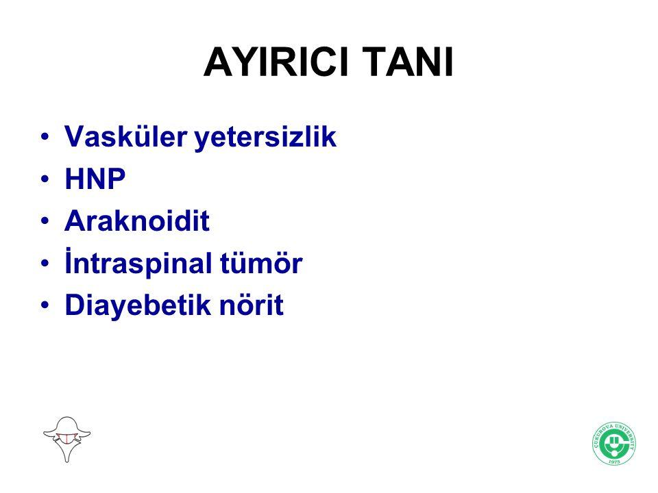 AYIRICI TANI Vasküler yetersizlik HNP Araknoidit İntraspinal tümör Diayebetik nörit
