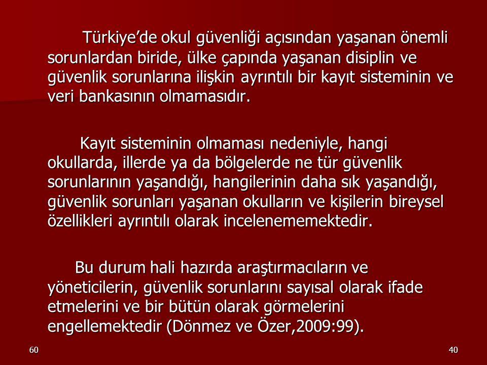 6040 Türkiye'de okul güvenliği açısından yaşanan önemli sorunlardan biride, ülke çapında yaşanan disiplin ve güvenlik sorunlarına ilişkin ayrıntılı bi