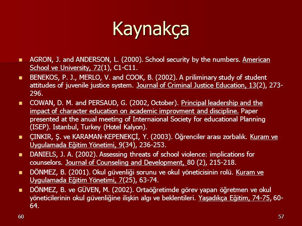 6057 Kaynakça AGRON, J. and ANDERSON, L. (2000). School security by the numbers. American School ve University, 72(1), C1-C11. BENEKOS, P. J., MERLO,