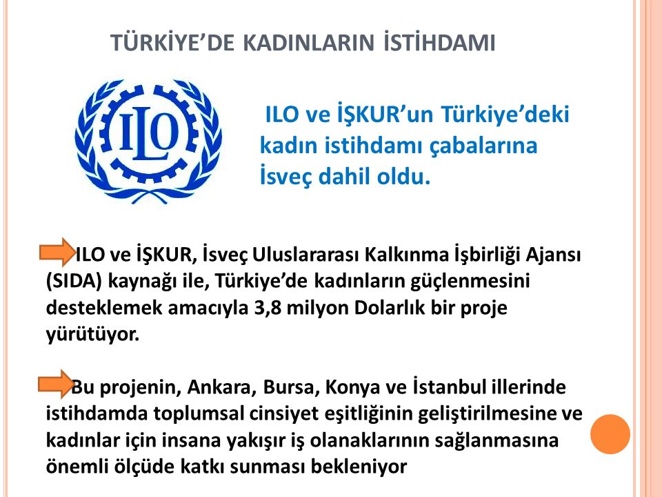 TÜRKİYE'DE KADINLARIN İSTİHDAMI ILO ve İŞKUR'un Türkiye'deki kadın istihdamı çabalarına İsveç dahil oldu. ILO ve İŞKUR, İsveç Uluslararası Kalkınma İş
