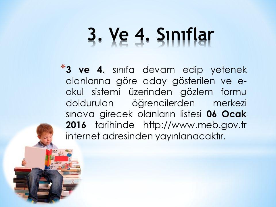 * 3 ve 4. sınıfa devam edip yetenek alanlarına göre aday gösterilen ve e- okul sistemi üzerinden gözlem formu doldurulan öğrencilerden merkezi sınava