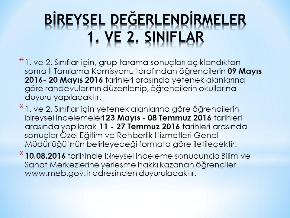 * 1. ve 2. Sınıflar için, grup tarama sonuçları açıklandıktan sonra İl Tanılama Komisyonu tarafından öğrencilerin 09 Mayıs 2016- 20 Mayıs 2016 tarihle