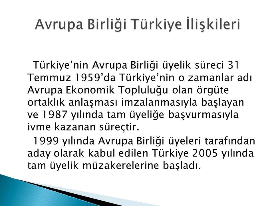 Türkiye'nin Avrupa Birliği üyelik süreci 31 Temmuz 1959'da Türkiye'nin o zamanlar adı Avrupa Ekonomik Topluluğu olan örgüte ortaklık anlaşması imzalan