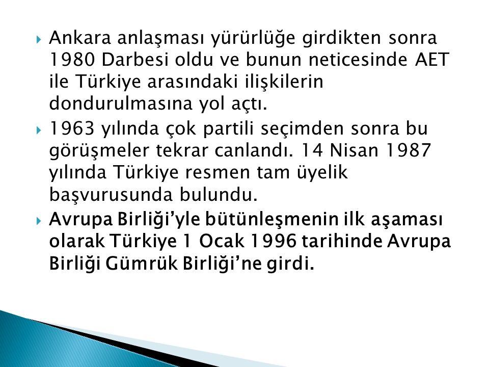  Ankara anlaşması yürürlüğe girdikten sonra 1980 Darbesi oldu ve bunun neticesinde AET ile Türkiye arasındaki ilişkilerin dondurulmasına yol açtı. 