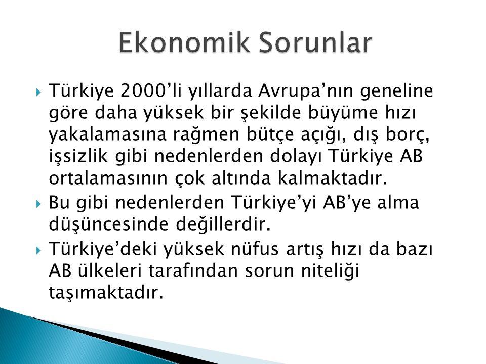  Türkiye 2000'li yıllarda Avrupa'nın geneline göre daha yüksek bir şekilde büyüme hızı yakalamasına rağmen bütçe açığı, dış borç, işsizlik gibi neden