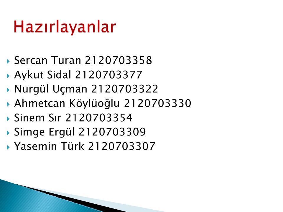  Sercan Turan 2120703358  Aykut Sidal 2120703377  Nurgül Uçman 2120703322  Ahmetcan Köylüoğlu 2120703330  Sinem Sır 2120703354  Simge Ergül 2120