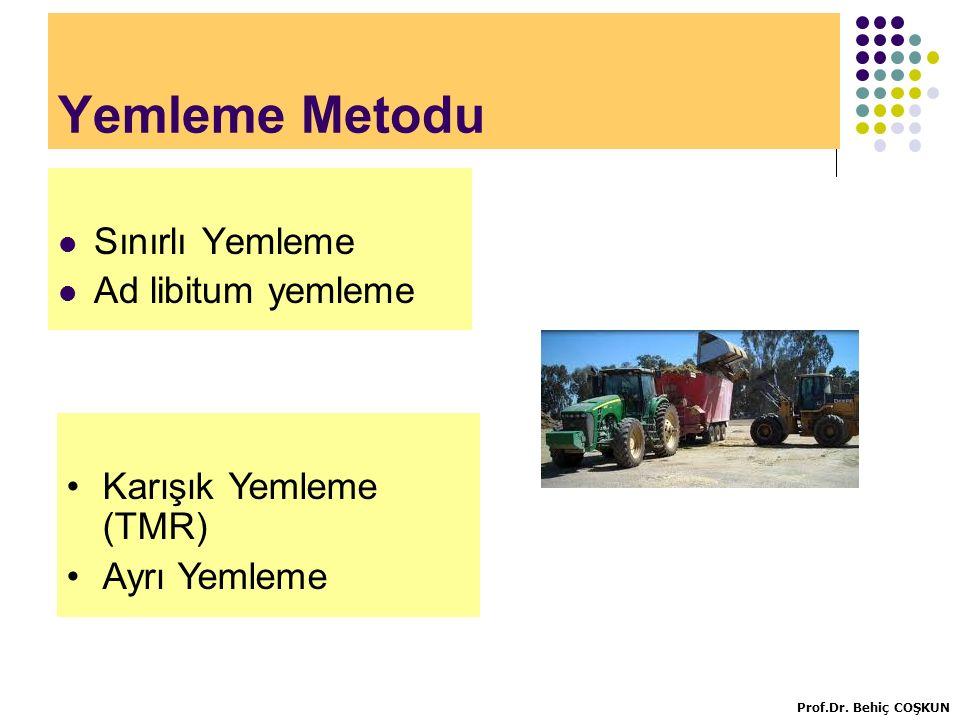 Yemleme Metodu Sınırlı Yemleme Ad libitum yemleme Karışık Yemleme (TMR) Ayrı Yemleme Prof.Dr.