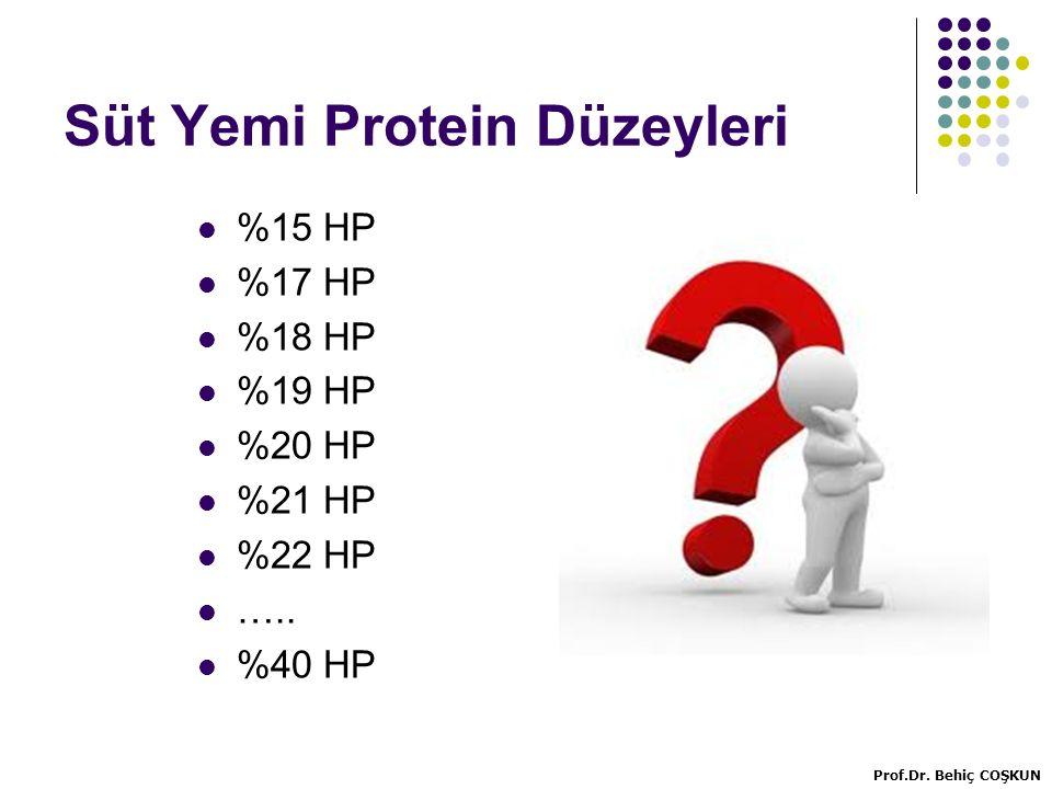Süt Yemi Protein Düzeyleri %15 HP %17 HP %18 HP %19 HP %20 HP %21 HP %22 HP …..