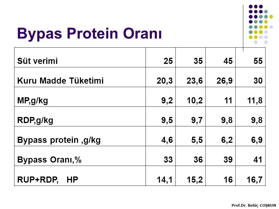 Bypas Protein Oranı Süt verimi25354555 Kuru Madde Tüketimi20,323,626,930 MP,g/kg9,210,21111,8 RDP,g/kg9,59,79,8 Bypass protein,g/kg4,65,56,26,9 Bypass Oranı,%33363941 RUP+RDP, HP14,115,21616,7 Prof.Dr.