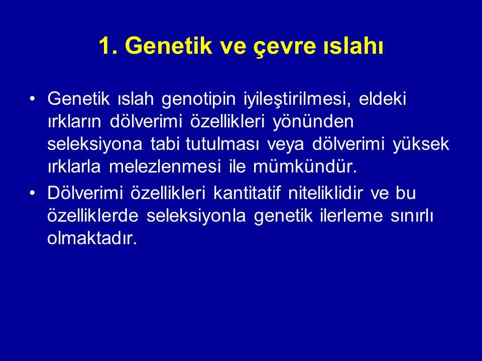 1. Genetik ve çevre ıslahı Genetik ıslah genotipin iyileştirilmesi, eldeki ırkların dölverimi özellikleri yönünden seleksiyona tabi tutulması veya döl