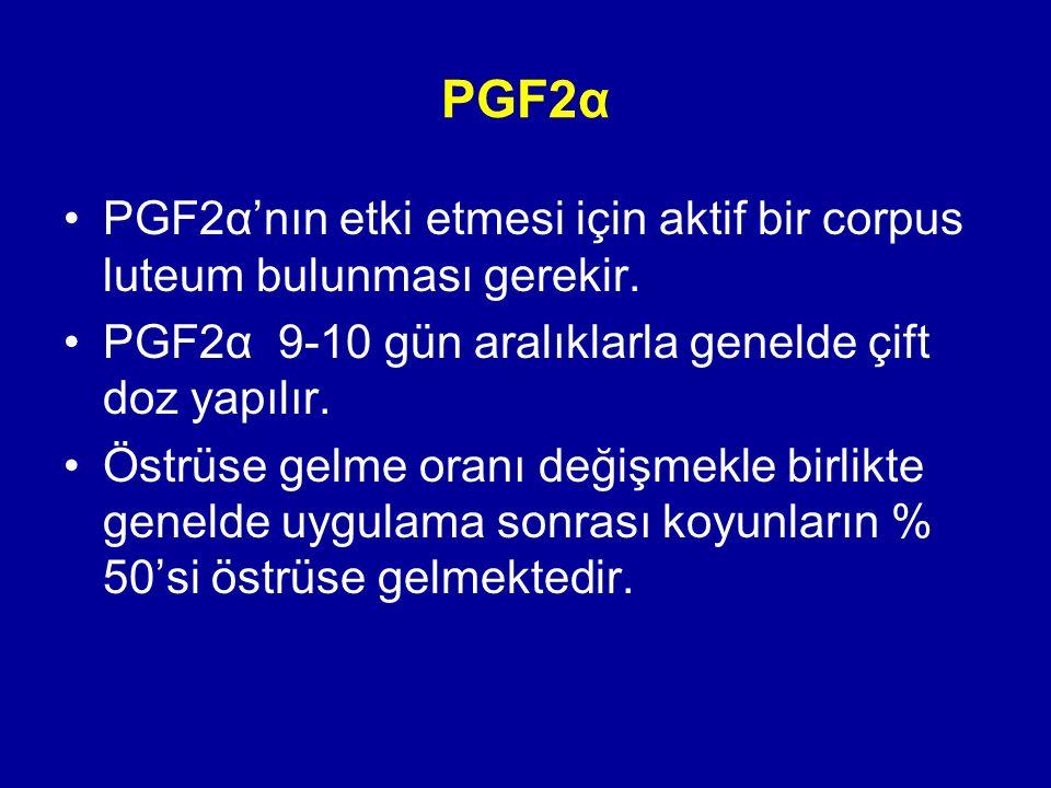 PGF2α PGF2α'nın etki etmesi için aktif bir corpus luteum bulunması gerekir. PGF2α 9-10 gün aralıklarla genelde çift doz yapılır. Östrüse gelme oranı d