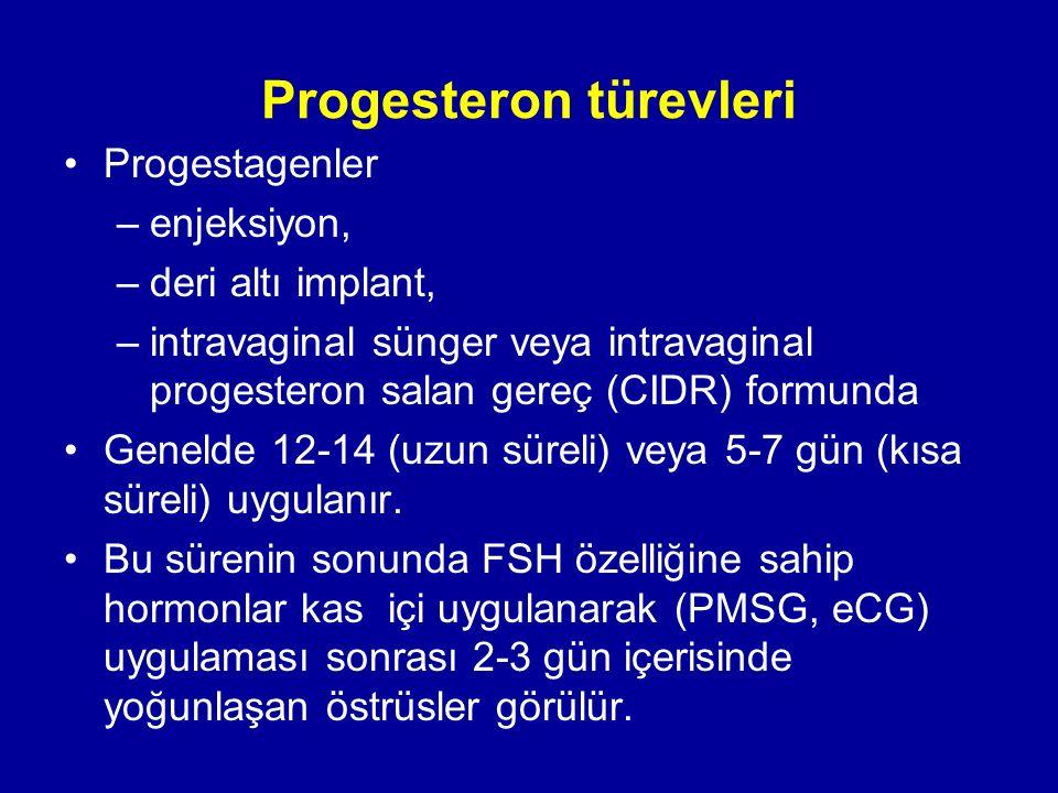 Progesteron türevleri Progestagenler –enjeksiyon, –deri altı implant, –intravaginal sünger veya intravaginal progesteron salan gereç (CIDR) formunda Genelde 12-14 (uzun süreli) veya 5-7 gün (kısa süreli) uygulanır.
