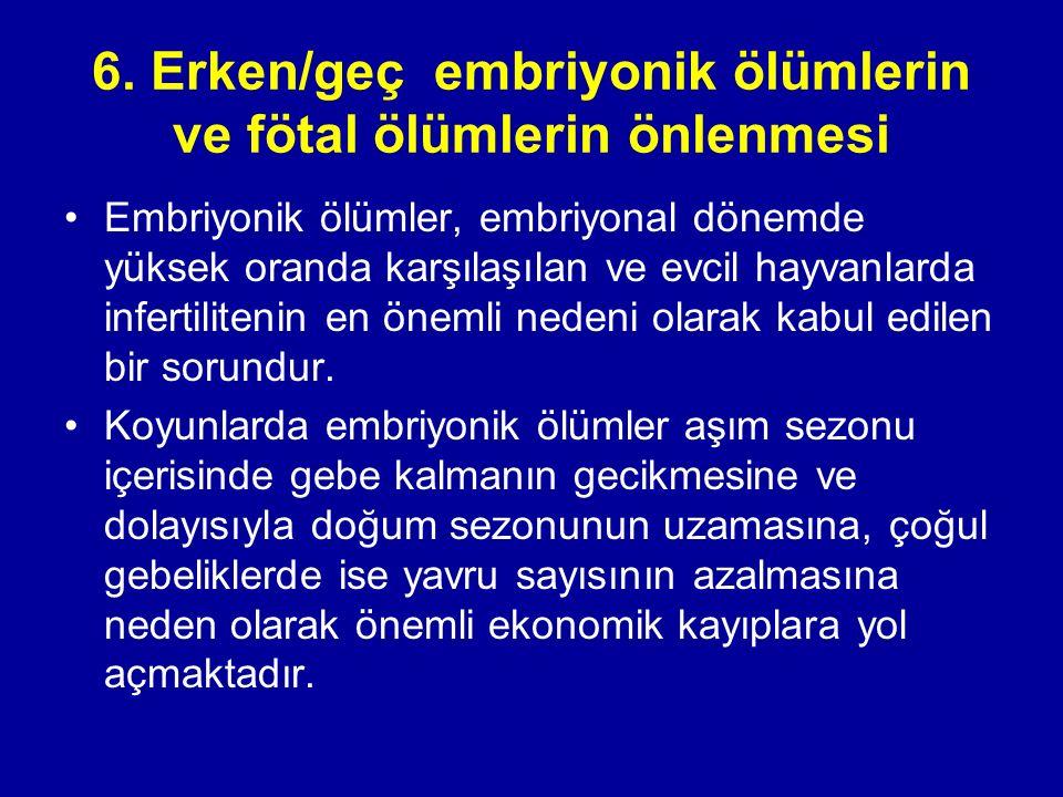 6. Erken/geç embriyonik ölümlerin ve fötal ölümlerin önlenmesi Embriyonik ölümler, embriyonal dönemde yüksek oranda karşılaşılan ve evcil hayvanlarda