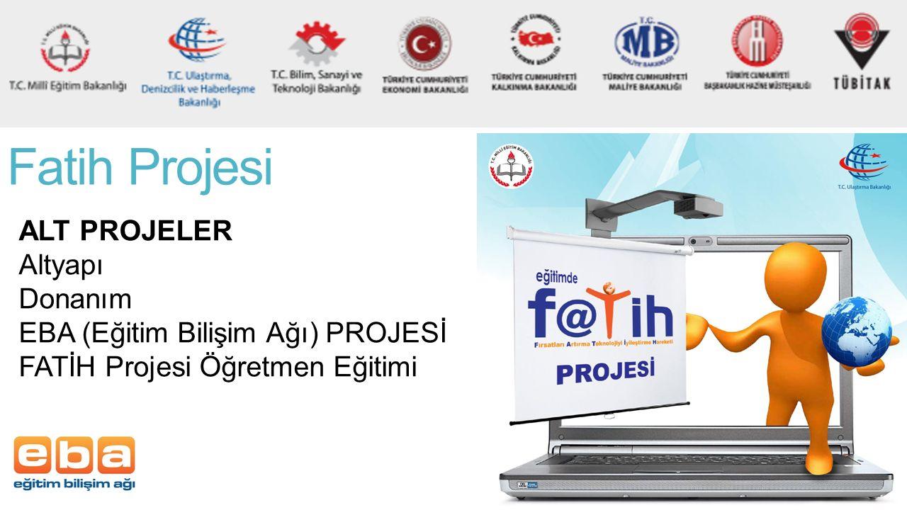 Fatih Projesi ALT PROJELER Altyapı Donanım EBA (Eğitim Bilişim Ağı) PROJESİ FATİH Projesi Öğretmen Eğitimi