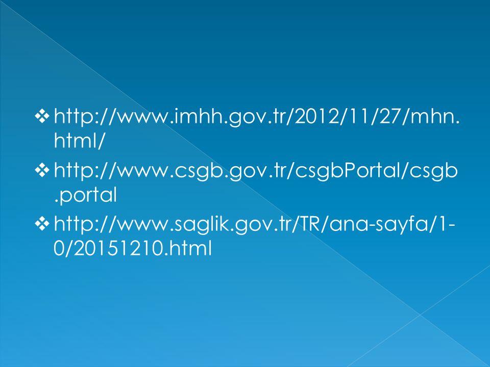  http://www.imhh.gov.tr/2012/11/27/mhn. html/  http://www.csgb.gov.tr/csgbPortal/csgb.portal  http://www.saglik.gov.tr/TR/ana-sayfa/1- 0/20151210.h