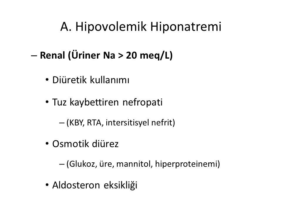 A. Hipovolemik Hiponatremi – Renal (Üriner Na > 20 meq/L) Diüretik kullanımı Tuz kaybettiren nefropati – (KBY, RTA, intersitisyel nefrit) Osmotik diür