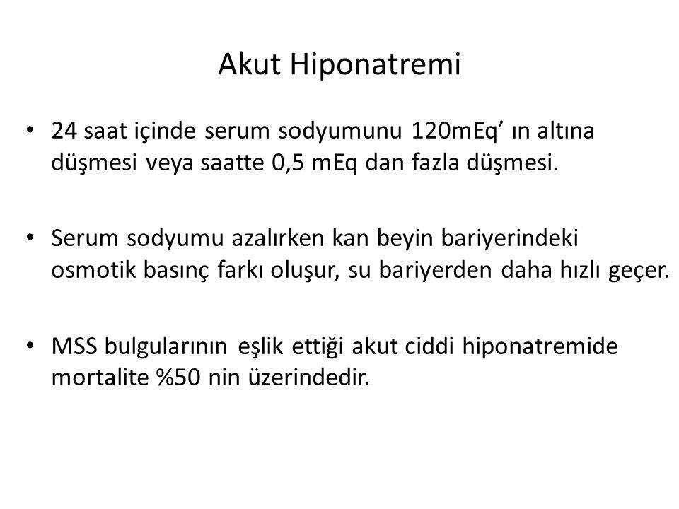 Akut Hiponatremi 24 saat içinde serum sodyumunu 120mEq' ın altına düşmesi veya saatte 0,5 mEq dan fazla düşmesi. Serum sodyumu azalırken kan beyin bar