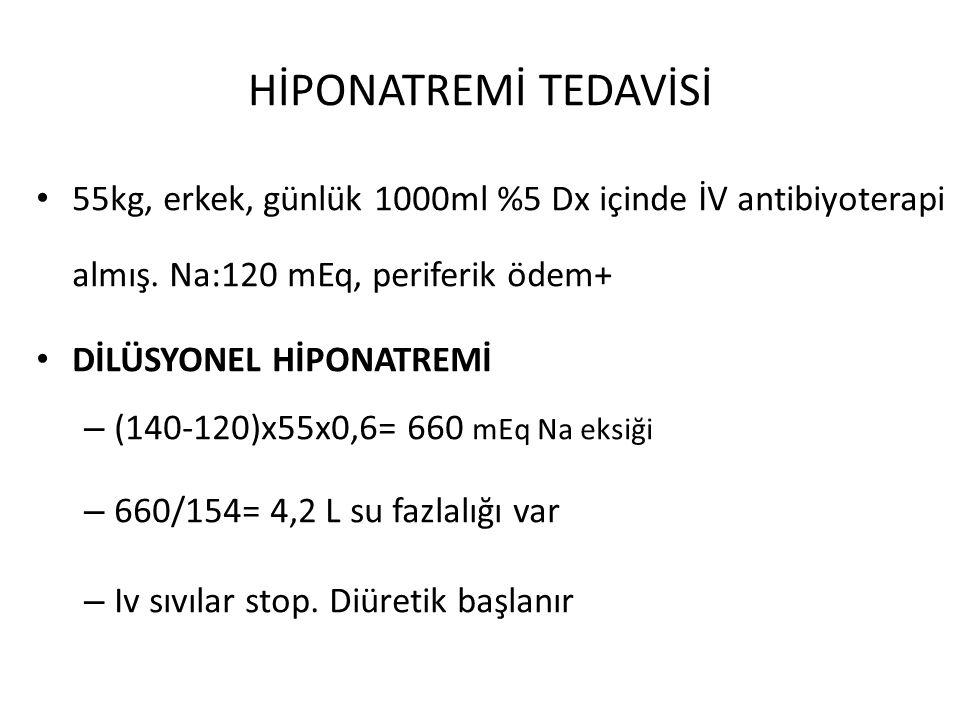 HİPONATREMİ TEDAVİSİ 55kg, erkek, günlük 1000ml %5 Dx içinde İV antibiyoterapi almış. Na:120 mEq, periferik ödem+ DİLÜSYONEL HİPONATREMİ – (140-120)x5