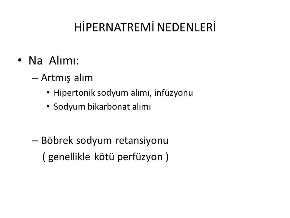 HİPERNATREMİ NEDENLERİ Na Alımı: – Artmış alım Hipertonik sodyum alımı, infüzyonu Sodyum bikarbonat alımı – Böbrek sodyum retansiyonu ( genellikle köt