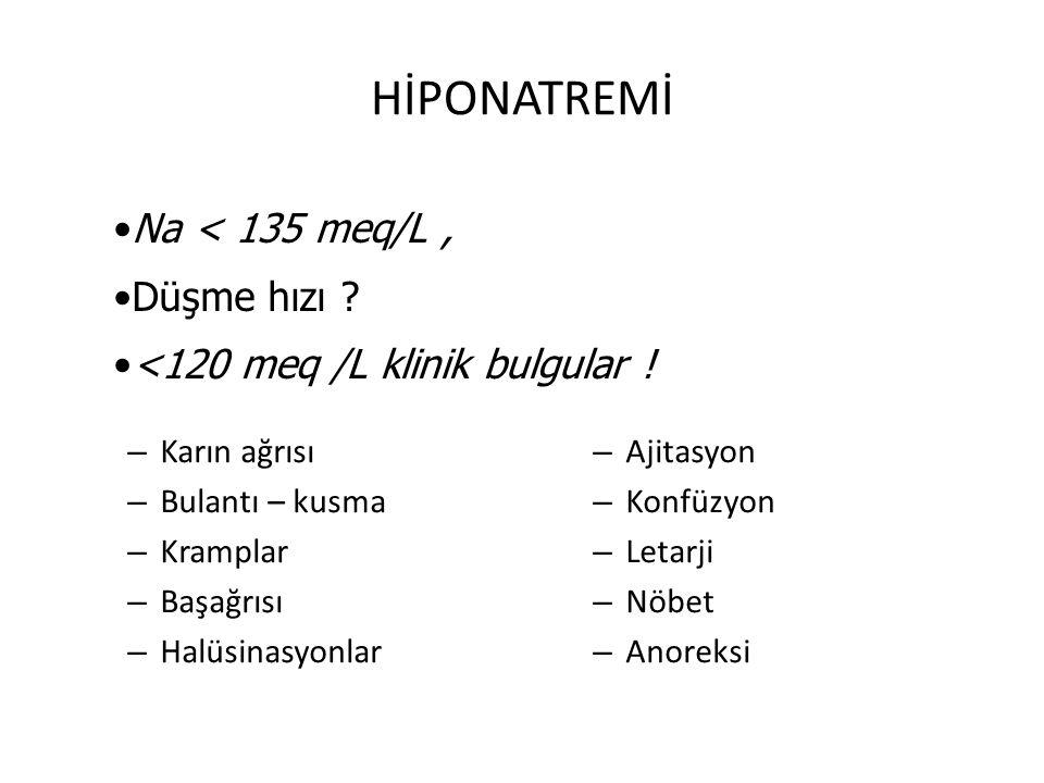 HİPONATREMİ – Karın ağrısı – Bulantı – kusma – Kramplar – Başağrısı – Halüsinasyonlar – Ajitasyon – Konfüzyon – Letarji – Nöbet – Anoreksi Na < 135 me