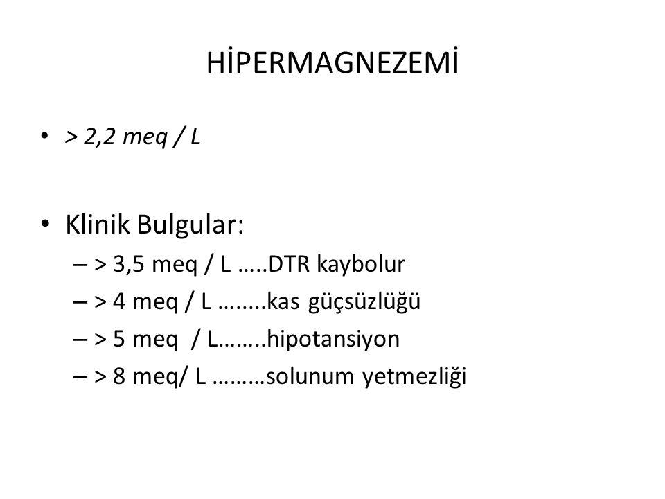 HİPERMAGNEZEMİ > 2,2 meq / L Klinik Bulgular: – > 3,5 meq / L …..DTR kaybolur – > 4 meq / L ….....kas güçsüzlüğü – > 5 meq / L……..hipotansiyon – > 8 m