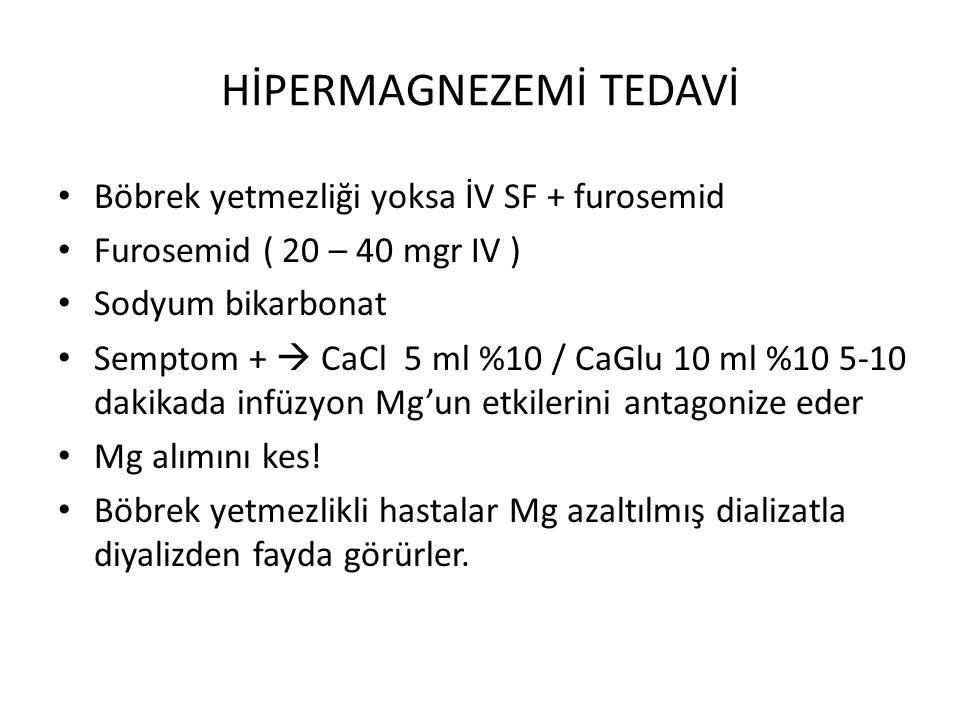 HİPERMAGNEZEMİ TEDAVİ Böbrek yetmezliği yoksa İV SF + furosemid Furosemid ( 20 – 40 mgr IV ) Sodyum bikarbonat Semptom +  CaCl 5 ml %10 / CaGlu 10 ml