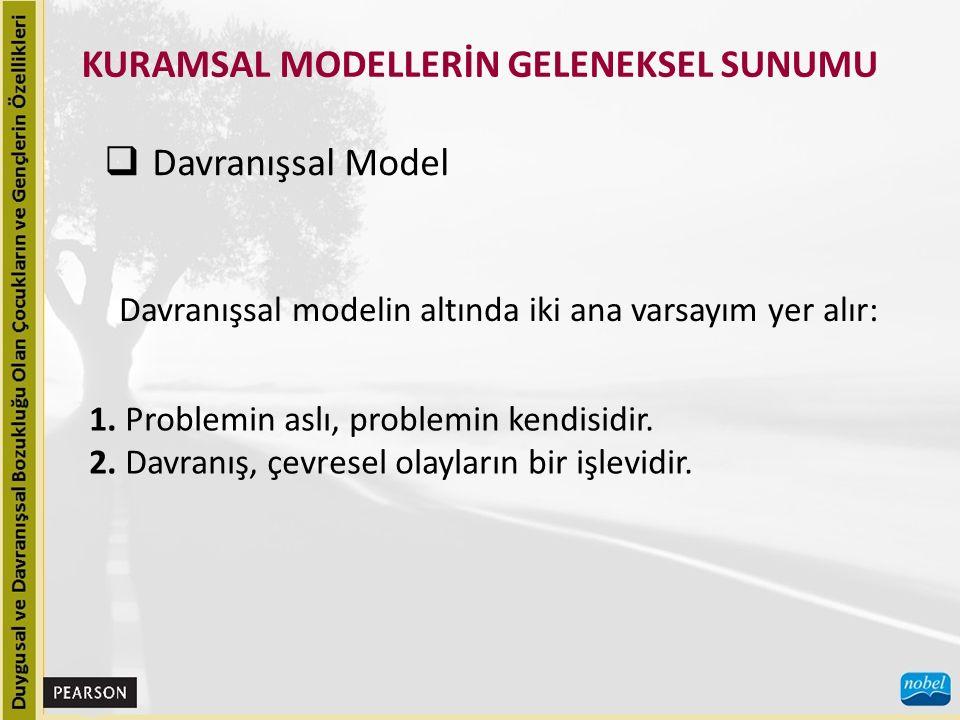 KURAMSAL MODELLERİN GELENEKSEL SUNUMU  Davranışsal Model Davranışsal modelin altında iki ana varsayım yer alır: 1. Problemin aslı, problemin kendisid