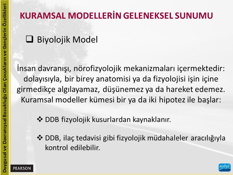 KURAMSAL MODELLERİN GELENEKSEL SUNUMU  Biyolojik Model İnsan davranışı, nörofizyolojik mekanizmaları içermektedir: dolayısıyla, bir birey anatomisi y
