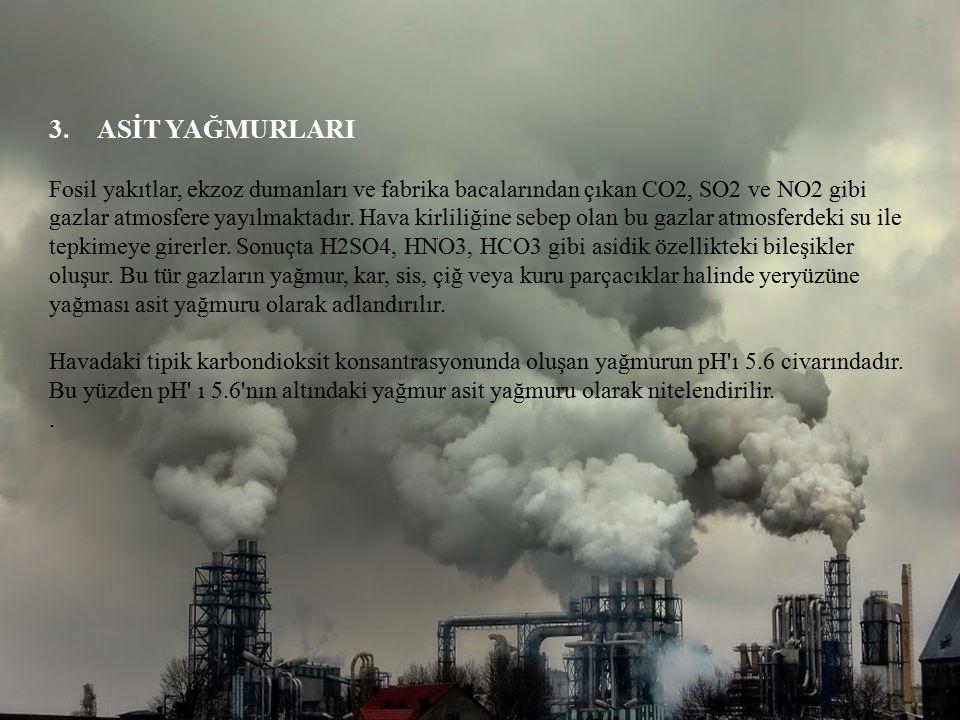 3.ASİT YAĞMURLARI Fosil yakıtlar, ekzoz dumanları ve fabrika bacalarından çıkan CO2, SO2 ve NO2 gibi gazlar atmosfere yayılmaktadır. Hava kirliliğine