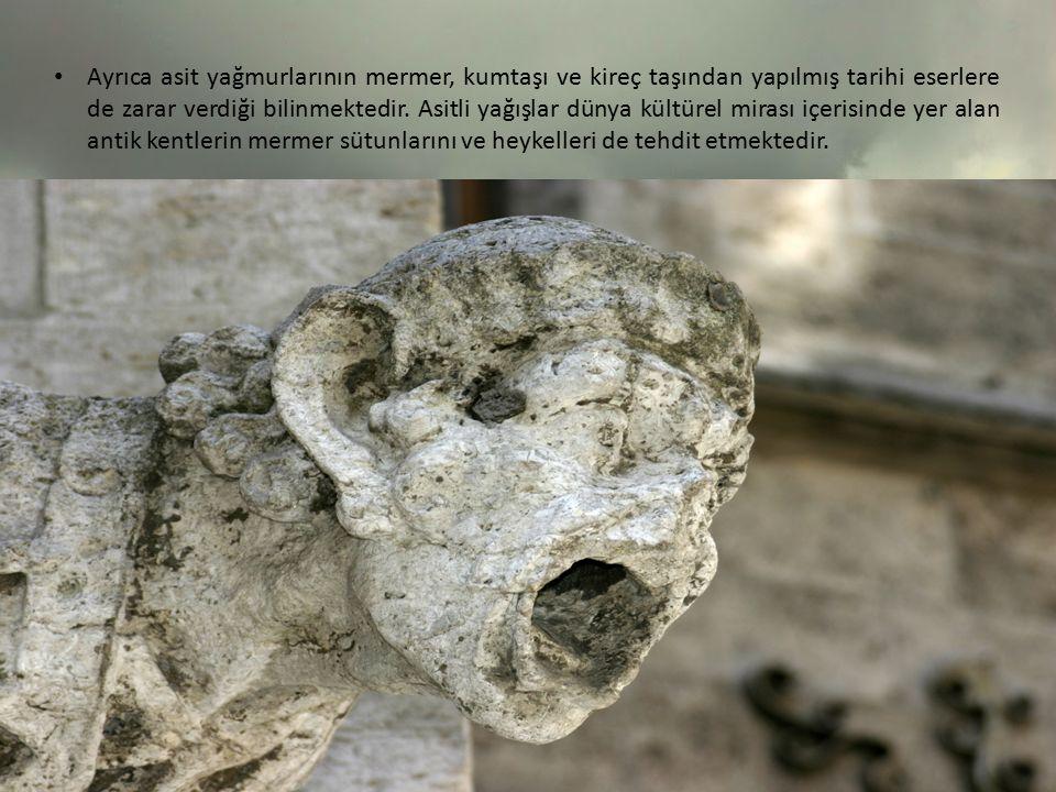 Ayrıca asit yağmurlarının mermer, kumtaşı ve kireç taşından yapılmış tarihi eserlere de zarar verdiği bilinmektedir. Asitli yağışlar dünya kültürel mi