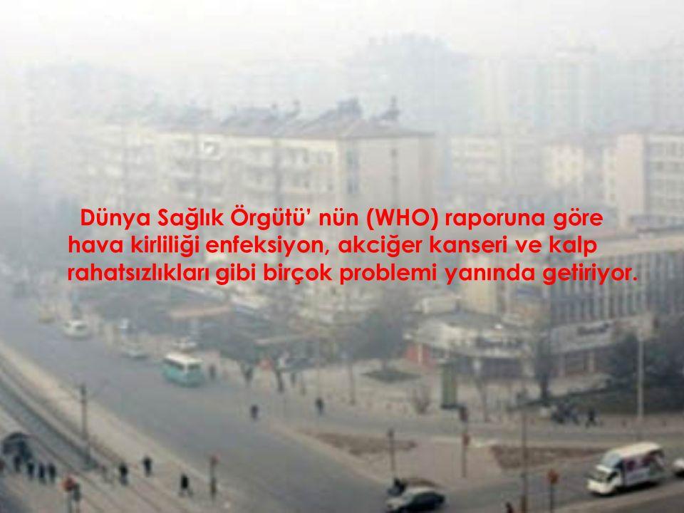 Dünya Sağlık Örgütü' nün (WHO) raporuna göre hava kirliliği enfeksiyon, akciğer kanseri ve kalp rahatsızlıkları gibi birçok problemi yanında getiriyor
