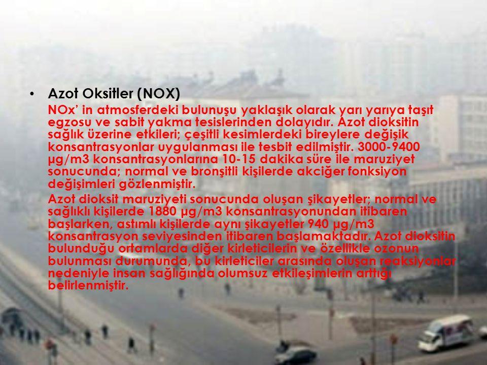 Azot Oksitler (NOX) NOx' in atmosferdeki bulunuşu yaklaşık olarak yarı yarıya taşıt egzosu ve sabit yakma tesislerinden dolayıdır. Azot dioksitin sağl