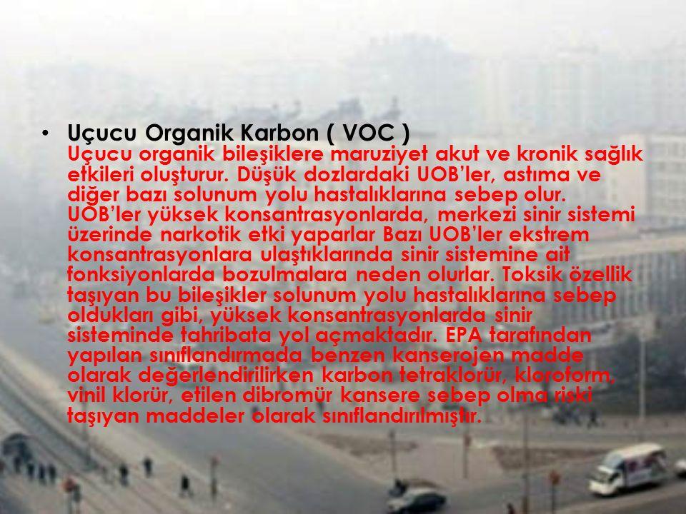 Uçucu Organik Karbon ( VOC ) Uçucu organik bileşiklere maruziyet akut ve kronik sağlık etkileri oluşturur. Düşük dozlardaki UOB'ler, astıma ve diğer b