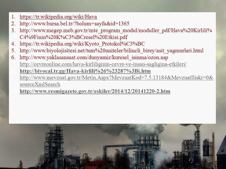 1.https://tr.wikipedia.org/wiki/Hava 2.http://www.bursa.bel.tr/?bolum=sayfa&id=1365 3.http://www.megep.meb.gov.tr/mte_program_modul/moduller_pdf/Hava%